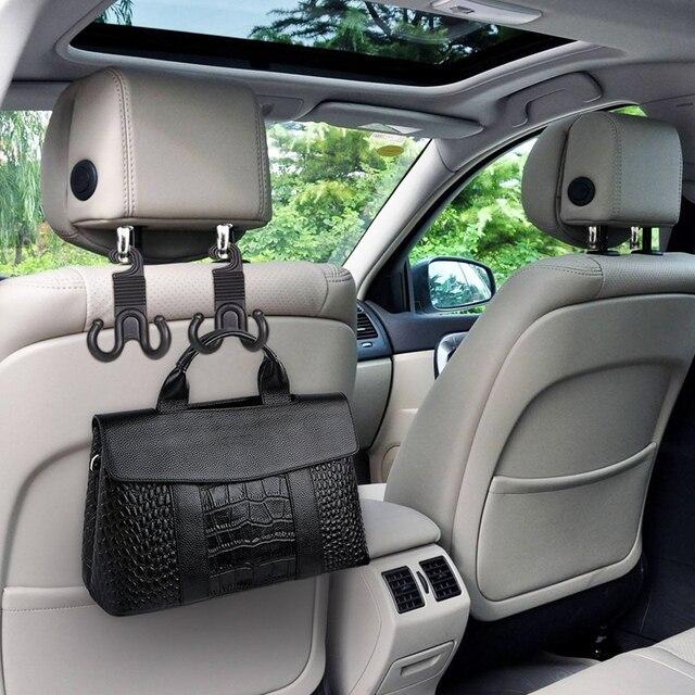 2pcs Pack Car Seat Back Headrest Hanger Hooks Fastener Clip Interior