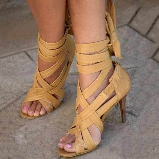 Choudory Brand Yellow Strappy Ankle Wrap Open Toe Stiletto Heel Sandals High heels Cut-outs Gladiator Sandals Women Booties rousmery 2017 ankle wrap rhinestone high heel sandals woman abnormal jeweled heels gladiator sandals women big size 43