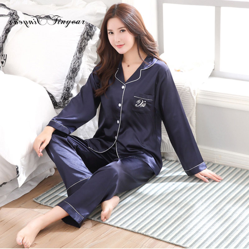2018 Tinyear Brand New Women Long Sleeve Sleepwear Homewear Soft Faux Family Pijama sexy Night Suit Women Casual Home Clothing ...