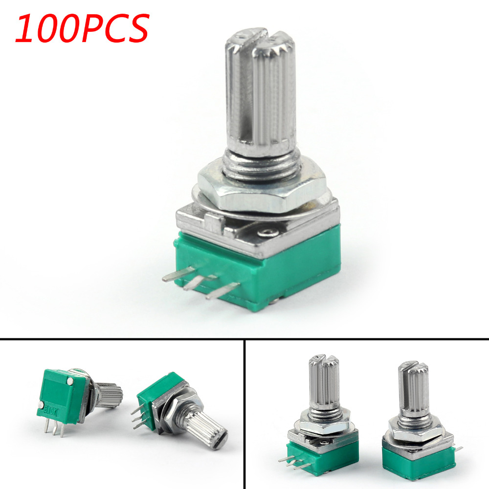 Areyourshop 100PCS 6mm 3pin Knurled Shaft Single Linear B10K Ohm Rotary Potentiometer 15mm Connector SwitchesAreyourshop 100PCS 6mm 3pin Knurled Shaft Single Linear B10K Ohm Rotary Potentiometer 15mm Connector Switches