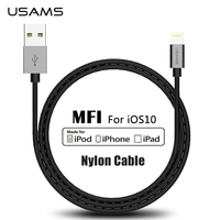 For MFi IPhone Cable USAMS USB Cable For Lightning To USB 2 1A Fast USB Charger