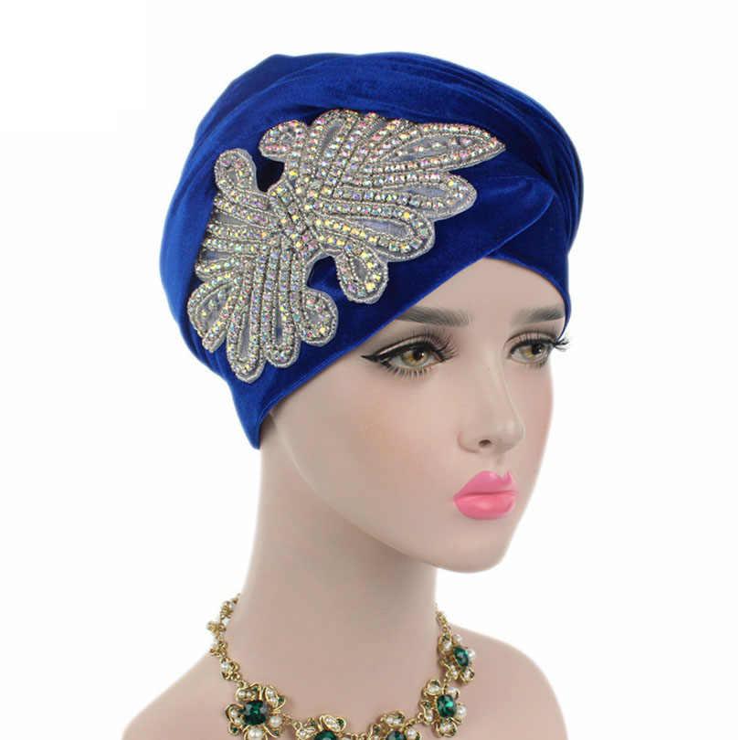 Haimeikang новые женские великолепные украшенные ювелирные изделия из кристаллов нигерийский вельветовый тюрбан Экстра длинный платок головной убор