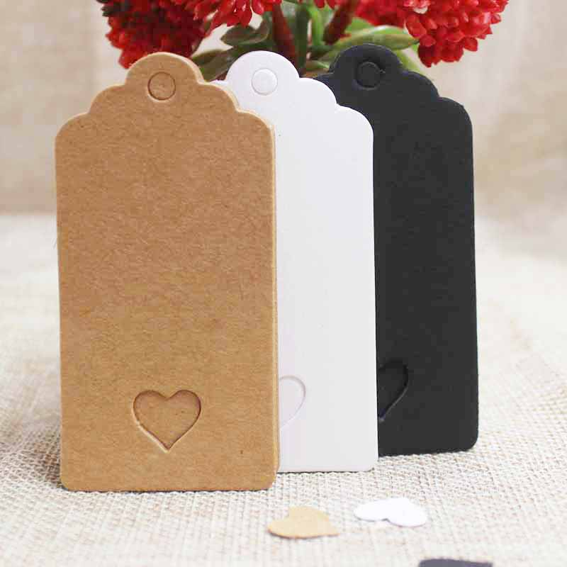 pearlized color heart hang tag label wedding favor love card note W// hemp string