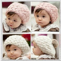 Fashion Rabbit fur ball baby child knitted hat New Children Warm Winter cap Beanie Soft Nap Kid Hat
