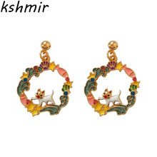 Fashion geometry Original sweet and lovely girl student star shells enamel bottom oil cat earrings