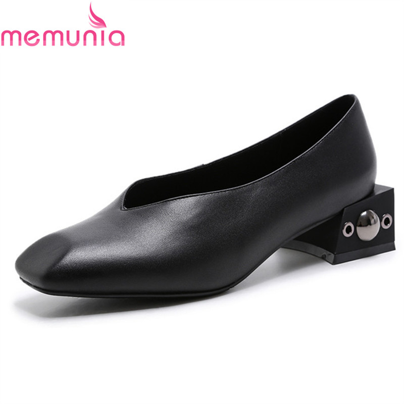 MEMUNIA Fashion square toe women pumps classice rivets solid genuine leather high heels shoes ladies spring autumn shoes memunia spring autumn fashion lace up ladies shoes med heels square toe high quality patent leather black casual shoes
