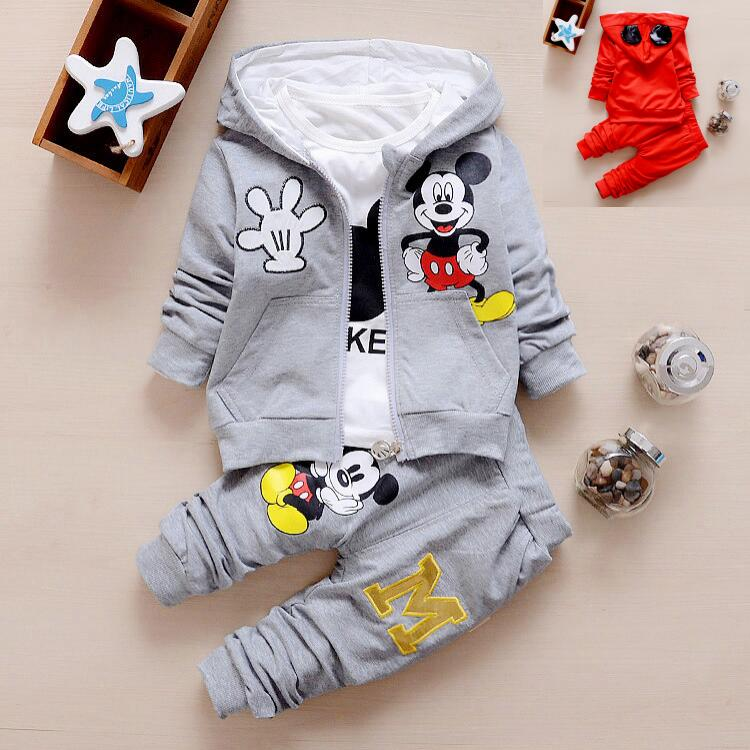New Spring Autumn Fashion Brand Children Boys Girl Clothes Sets Kids Mickey Jacket And Tshirt And Pants 3pcs Toddlers Tracksuits conjunto do mickey para menino