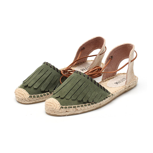 Summer Sandal with Tassel Soft Ankle Tie Closed Toe Espadrilles Flats
