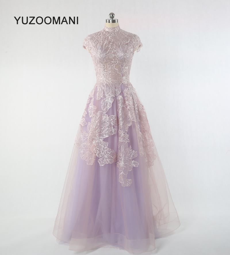 YUZOOAMNI real photo elegant high neck a-line sequin pink   prom     dresses   long plus size ball gown party   dresses   2019 Robe de Soire