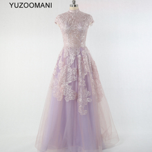 YUZOOAMNI real photo elegant high neck a-line sequin pink pr