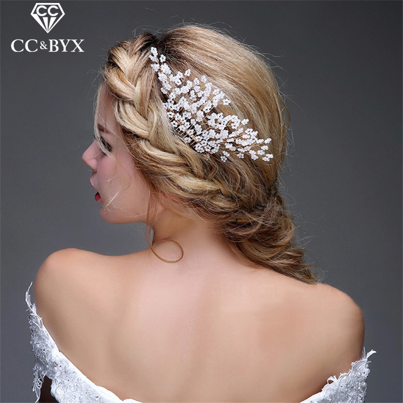CC Jewelry Comb Hair Combs Bride Crown Tiara Wedding Hair Accessories For Women Party Beads Crowns Hairwear Gold-Color DIY 0606