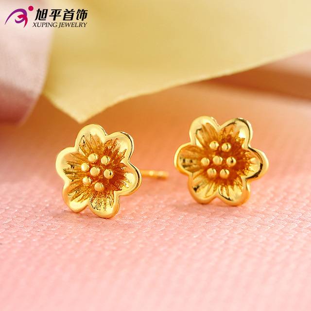 1cm*1cm High Quality Gold Plated Big Gold Lotus Flower Earrings for Women New Girls Christmas Gift Statement Jewelry
