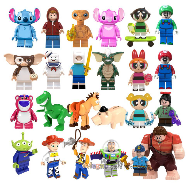 Toy Story Legoings Figures Gremlins Gizmo Stitch Super Mario Wreck-It Ralph Alien E.T. With Elliot Building Blocks Friend toys