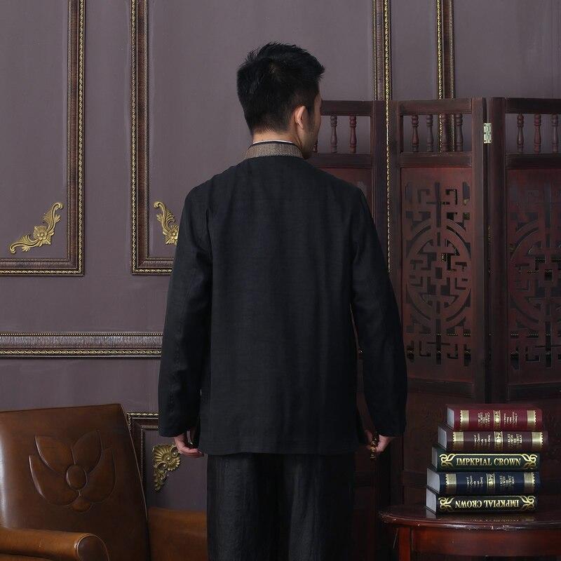 Erkek Kıyafeti'ten Ceketler'de Yeni Varış Sonbahar Erkek Ceket % 100% Ipek Çin Geleneksel Tarzı Kung Fu ceket Moda Tang Takım Elbise ceket Boyutu L XL XXL 3XL 4XL'da  Grup 2