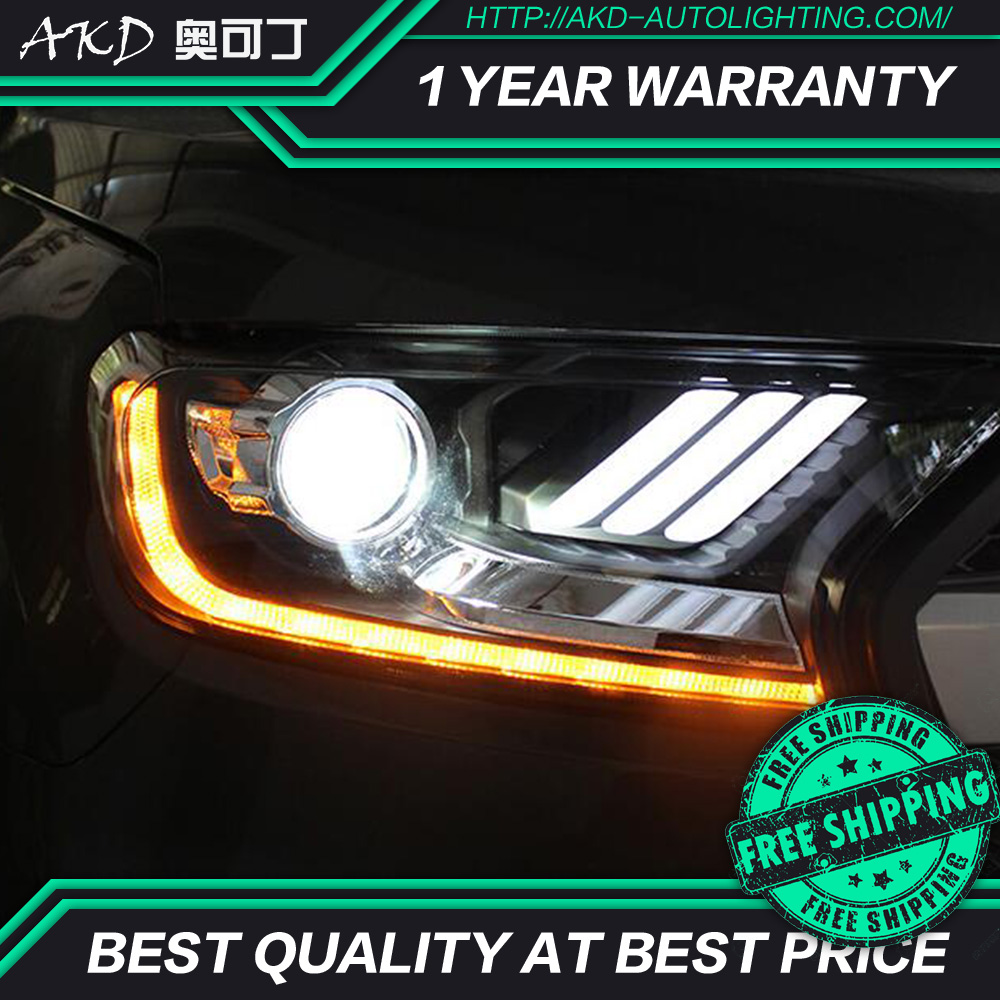 AKD tuning cars Headlight For Ford Ranger Everest Endeavour Mustang Headlights LED DRL Running lights Bi