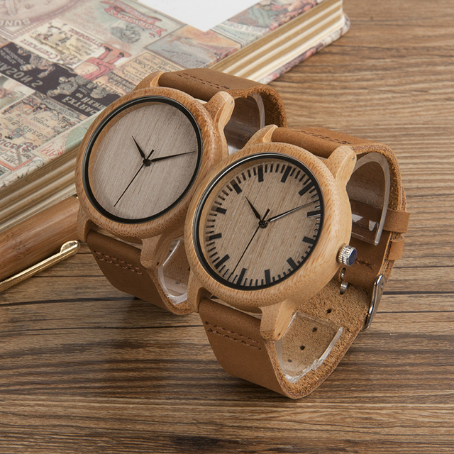Men's Bamboo Round Case Leather Strap Watch