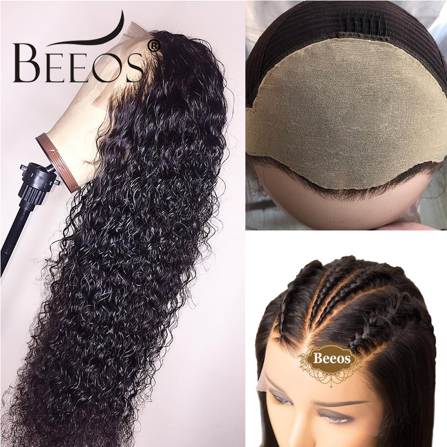 Beeos Fake Scalp Cap 13*6 Lace Front Human Hair Wigs For Women Black Pre Plucked Glueless Curly Wig Brazilian Remy For Women