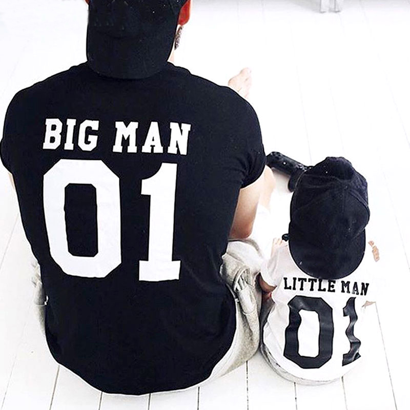 Family T-Shirt Outfits New-Fashion Man Print Big Little-Man