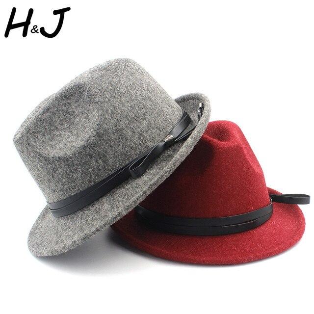 c8a66853ad0 Fashion Women Men 100% Wool Fedora Hat with Short Brim Gangster Trilby Felt  Homburg Church Jazz Hat With Fashion Belt