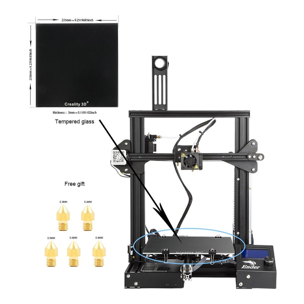 все цены на Creality 3D Newest Ender-3 3D Printer Mini Kit Metal Frame Print Size 220*220*250mm 3D Printer DIY Kit With Free Nozzles онлайн