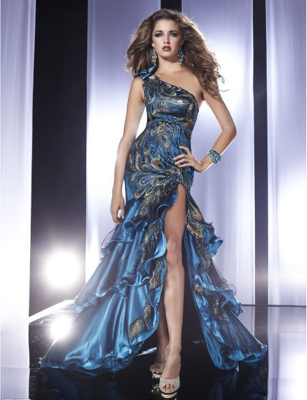 Livraison gratuite 2013 nouveau mode une épaule robes de festa partie formelle élégante robe sexy bleu longue soirée Robes de bal