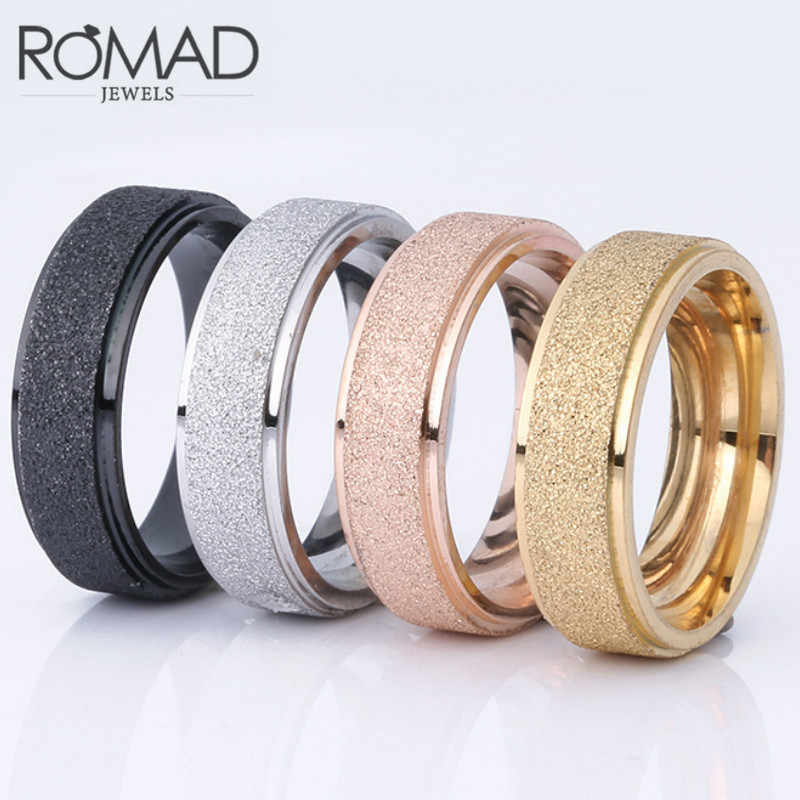 Frosted Titanium Steel Iron Man Women Personality Simple Stainless Steel Ring Black Rose Gold Gold Silver Color 6 7 8 9 10 11 12