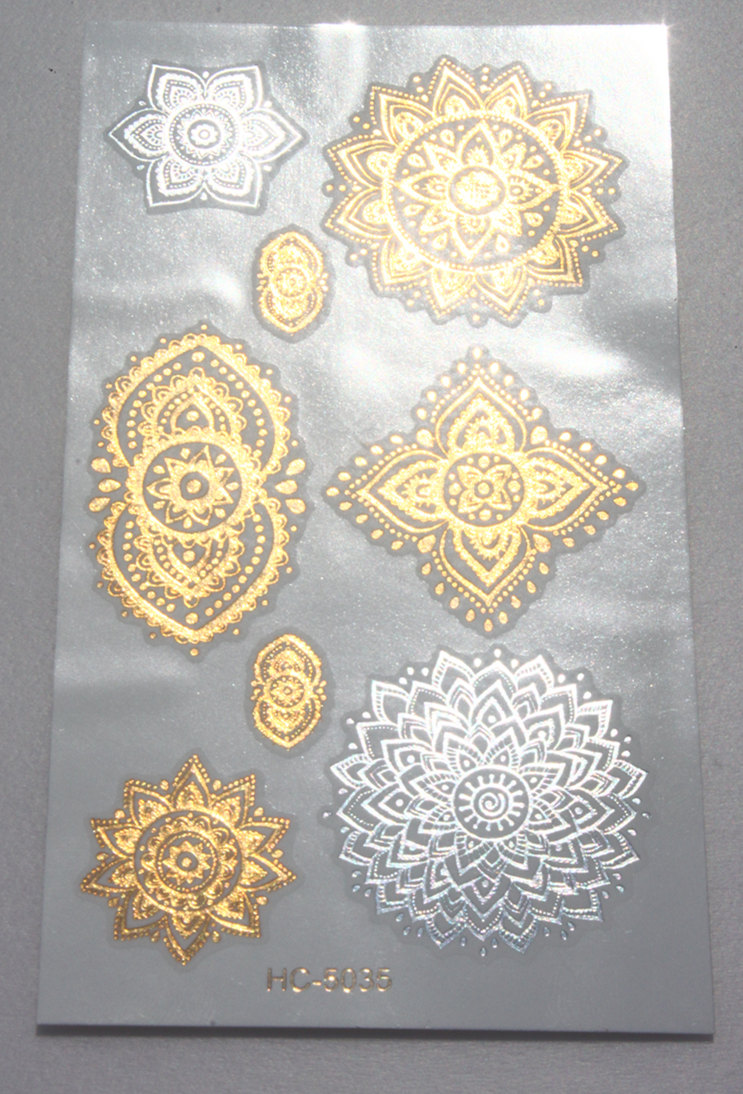 New Body Art Beauty Party Women Makeup Golden Totem Sexy Waterproof Temporary Tattoo Stickers