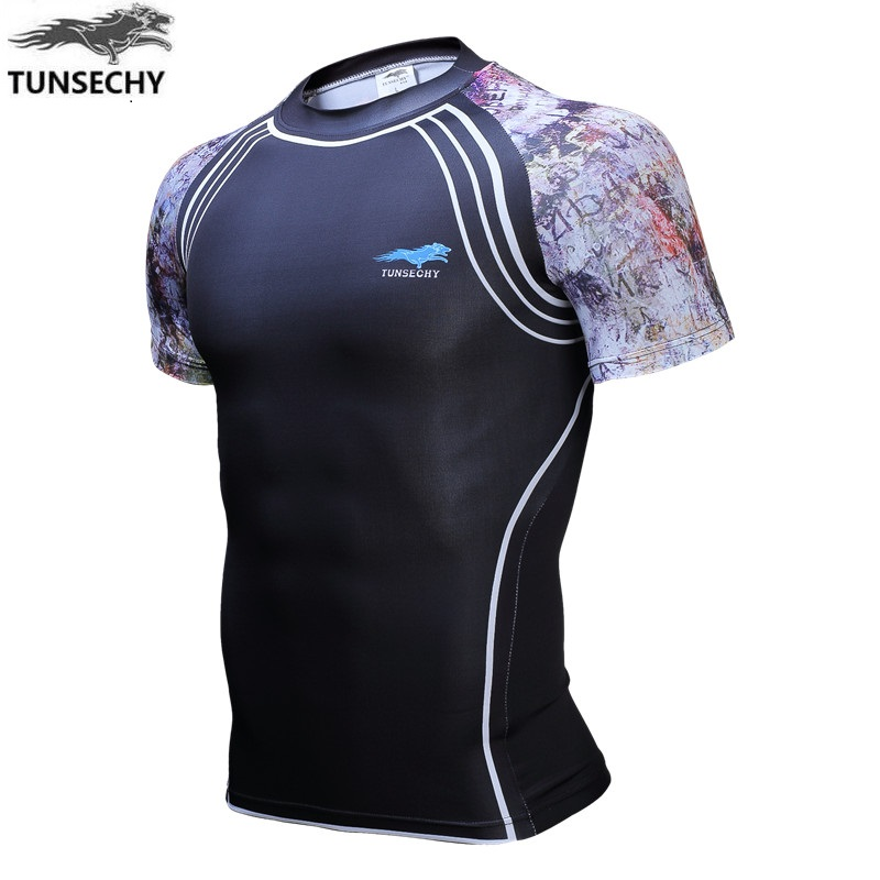 TUNSECHY Compression Digital printing for Men Men's Brand Short Sleeve tight T-shirt Wholesale and retail Free transportation