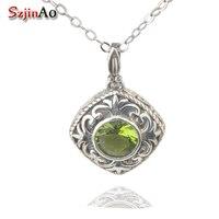 Szjinao custom processing fashion and retro palace 925 silver pendant peridot pendant wholesale