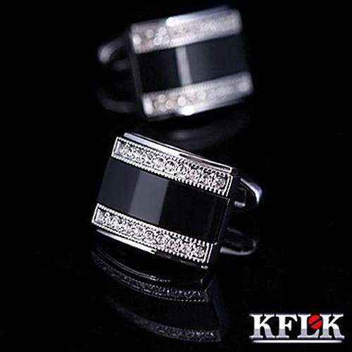 KFLK Mewah 2020 BARU HOT kemeja kancing manset untuk mens Hadiah Merek tombol manset cuff link Hitam Kualitas Tinggi Perhiasan abotoaduras