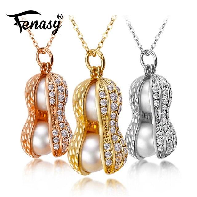 FENASY natural pearlsdouble pearl pendantnecklace women fashion
