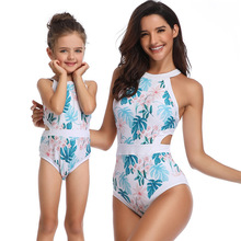 цена на 2019 New Girls Swimwear Women Bikini One Piece Mommy and Me Swimsuit Matching Outfits for Mother and Daughter 2T to XL