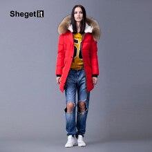 Shegetit Raccoon Fur Collar Women Long Down Parka 2016 Winter Snow Warm Jacket Women Outerwear Down Jacket Female Coat Women