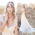 Anna Campbel Rendas Do Vestido de Casamento 2016 V Neck Vestidos de praia Grânulos da pérola Plus Size Boêmio Árabe Vestidos de Noiva Trem Da Varredura vestido