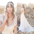 Beach Wedding Dress Anna Campbel Lace 2016 V Neck Vestidos Pearl Beads Plus Size Arabic Bohemian Bridal Gowns Sweep Train Dress
