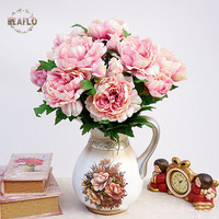1Bunch Vintage Artificial Flowers 5 Heads Beauty Peony Bouquet Home Wedding Party Decorative Floristry BQ059