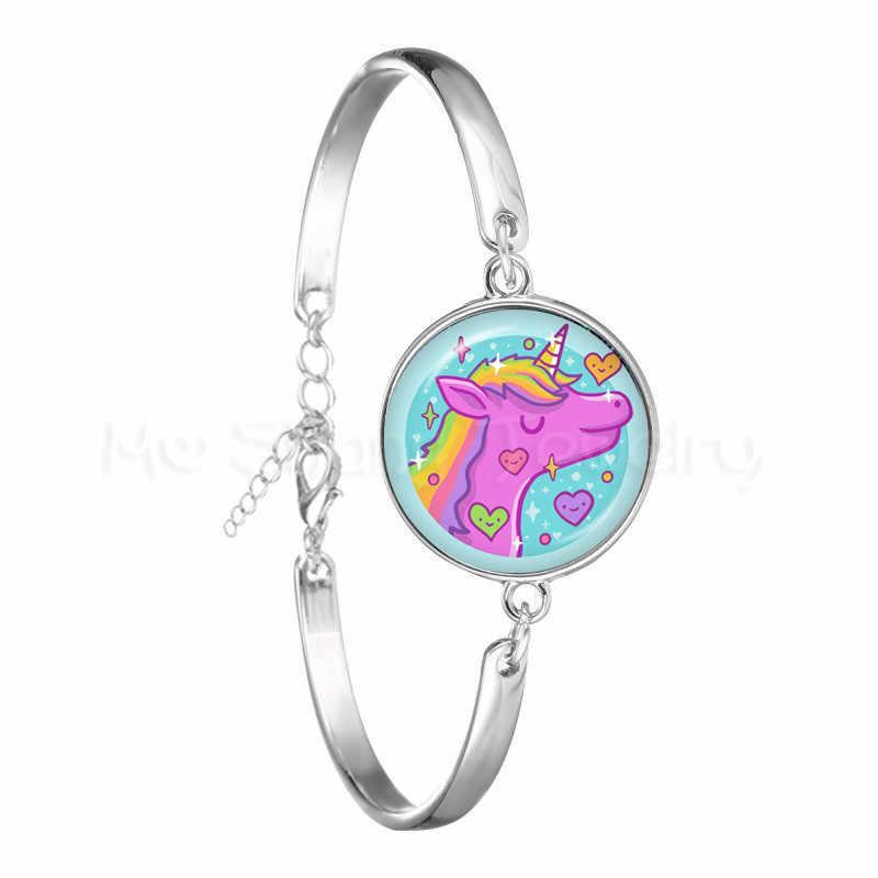 لطيف يونيكورن يطير الخيول الزجاج كابوشون سوار Jewely و أفضل هدية للأطفال صبي أو فتاة الفضة اللون الحيوان الإسورة