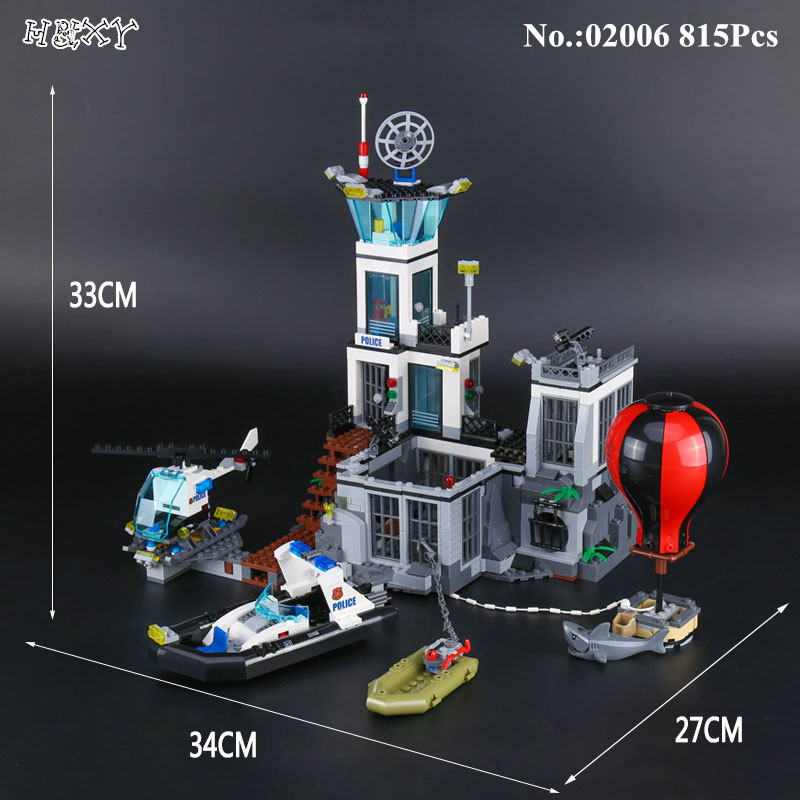 IN STOCK H&HXY 02006 815Pcs Genuine City Series The Prison Island Set Building Blocks Bricks Educational Funny Toys Gift lepin lepin 02006 815pcs city series police sea prison island model building blocks bricks toys for children gift 60130