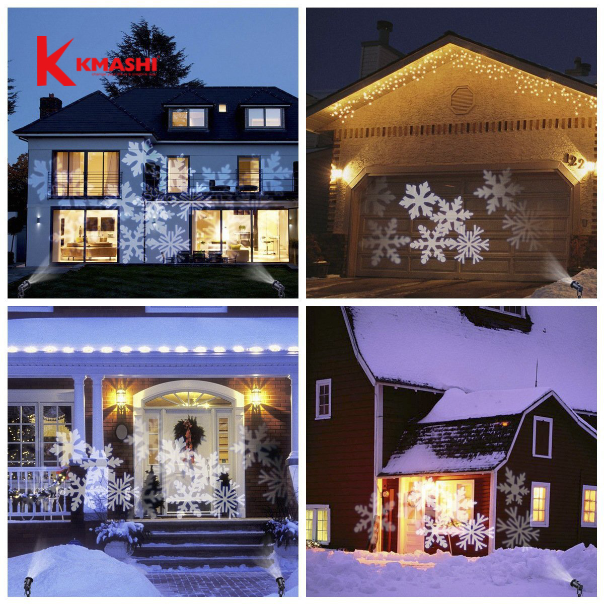kmashi christmas light projector light spotlight 4pics dynamic light white snow showparty holiday decoration outdoor lighting in led lawn lamps from lights