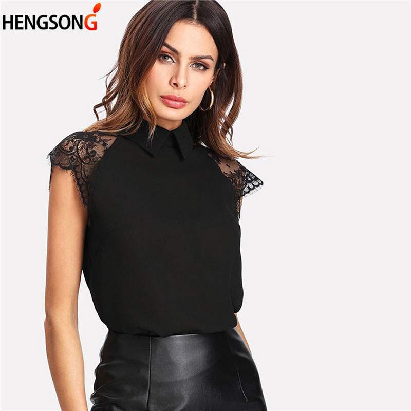 HENGSONG Floral Lace Cap Sleeve Blouse Black Turn-down Collar Blouse Women Elegant Top Summer Short Sleeve Plain Workwear Blouse