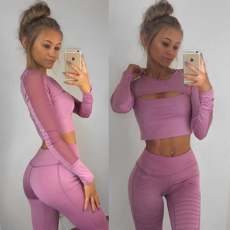 Womens Tracksuit Hollow Out Long Sleeve Crop Top and Legging Pants 2 Piece Set Female Mesh Casual Summer Outfits Fitness Wear