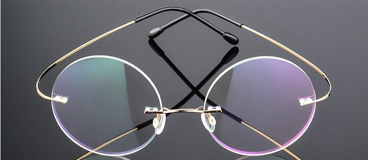 Oculaire ilove-lunettes de myopie sans bords   Verres ronds vintage femmes, en alliage de titane, lunettes de prescription pour myopie-0.50 -6.00