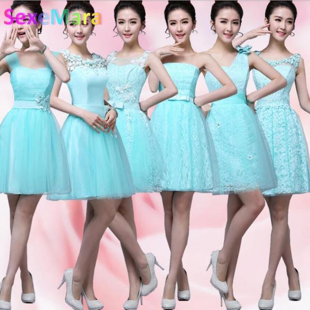 2017 Elegant Padded Short Mini Bridesmaid Dresses Aqua Blue Color Women Fashion Party Ball Gown