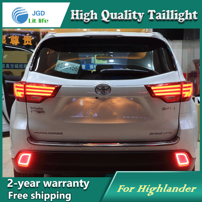 Car Styling New Highlander tail lights 2015-2016 For Toyota Highlander LED Tail Lamp rear lamp cover drl+signal+brake+reverse car styling tail lights for toyota highlander 2012 led tail lamp rear trunk lamp cover drl signal brake reverse