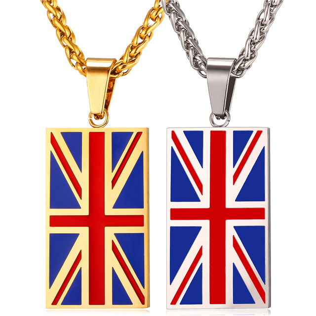 New Hot England National Flag Pendant Stainless Steel/Gold Color UK Patriot Necklace Women/Men Jewelry 2017 Wholesale GP2446
