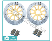 Gold Round Front Brake Disc Rotor + Brake Pads for Kawasaki ZX7R ZX9R ZX12R VN 1500 1600 Mean Streak 96 97 98 99 00 01 02 03 04