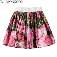 W L MONSOON Girls Skirts Children Clothing 2018 Summer Rose Flower Baby Girls Tutu Skirts Kids