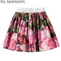 W L MONSOON Girls Skirts Children Clothing 2018 Summer Rose Flower Baby Girls Tutu Skirts Kids