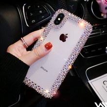 Moda de luxo Strass Cristal TPU Soft Case Para O Iphone X XR XS Max Caso Para Iphone 6 6 S Plus 7 Plus 8 Mais Caso(China)