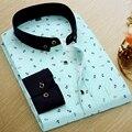 Los hombres de impresión camisa de manga larga camisa masculina camisa casual hombres de la marca de clothing floral print shirts hombres ropa de trabajo nueva 2017